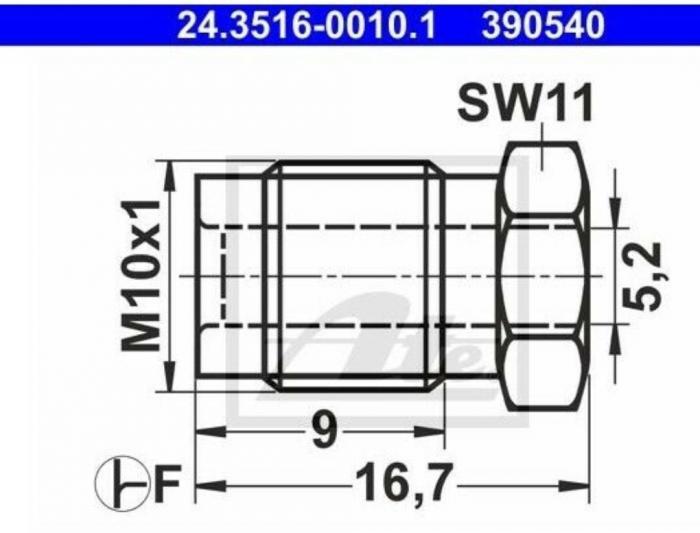 Einschraubnippel M10x1 Bördel F  für 4,75mm Leitungssystem