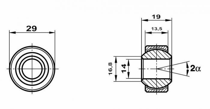 Motorsport Gelenklager 14x29x19/13,5 MS  GXSW 14.29 Lager nicht vorgespannt