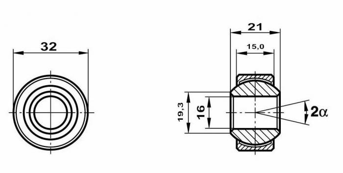 Motorsport Gelenklager 16x32x21/15 MS  GXSW 16.32 Lager nicht vorgespannt