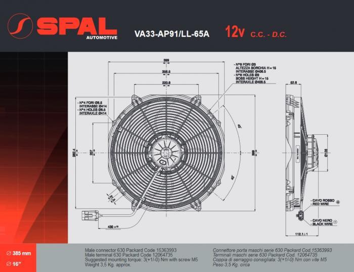 Spal Kühlerventilator 3310m³ saugend  D414-D385 T=112 VA33-AP91/LL-65A