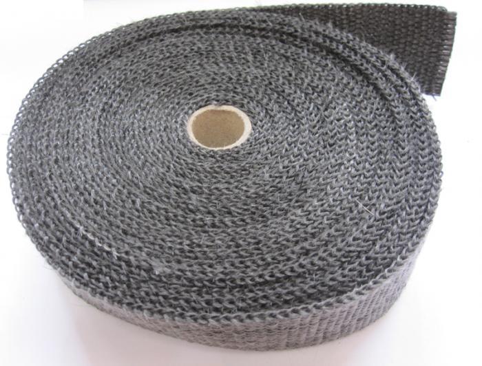 Schwarzes Graphit-Thermoband + Edelstahlschelle Breite 50 mm  Länge 10 m // 5 Schellen 30cm