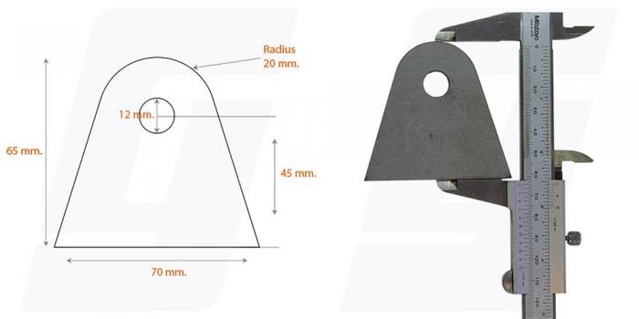 Schweisslasche Nr.8  70x65x4 (12mm Loch)   - Domex700