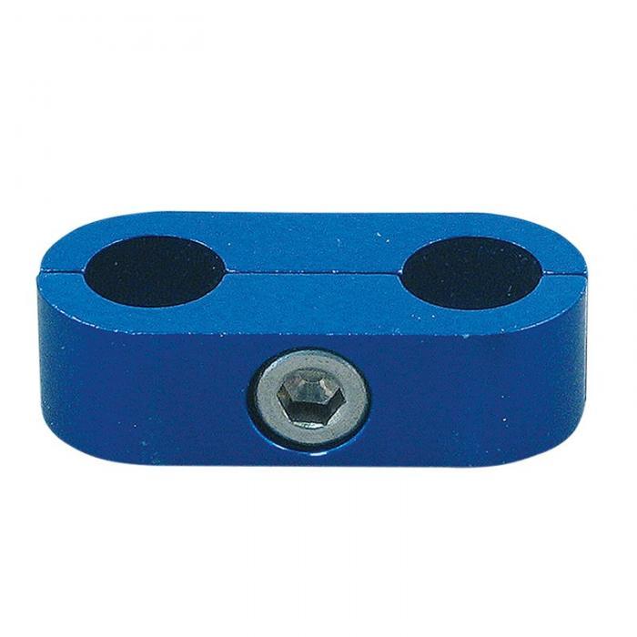 Doppelter Schlauchhalter D10 blau  aus Aluminium für Serie 300/400 Schläuche