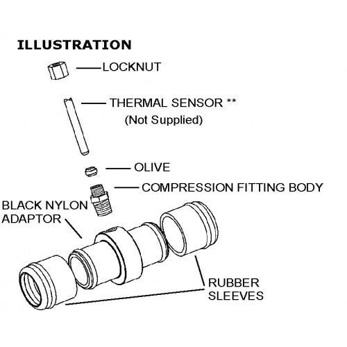 Schlauchkupplung für Temperaturfühler mit Dichtung  35mm - 42mm Schlauchdurchmesser