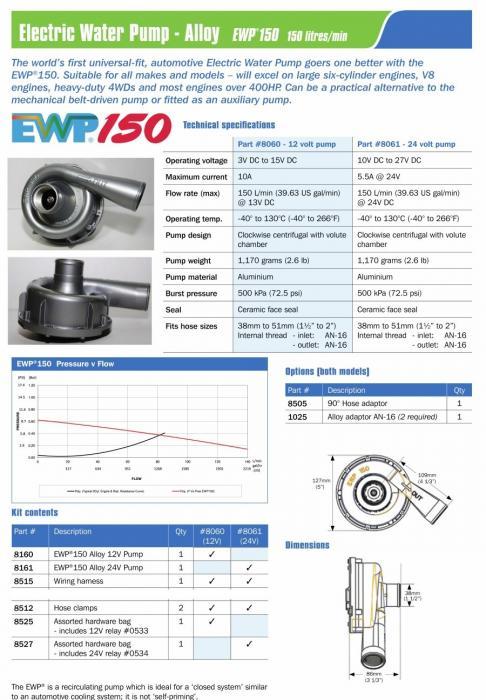 Elektrische Wasserpumpe EWP150 12V Aluminium  Davies Craig