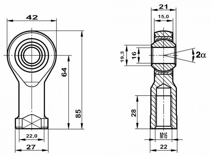 Fluro Hochleistungs Gelenkkopf GISW M16 MS   Lager vorgespannt