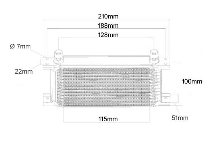 Ölkühler Mocal 13 Reihen 210 mm lang  Anschluss 1/2 BSP Aussengewinde