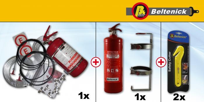 Rallye Set Feuerlöschanlage Handlöscher und Gurtmesser  Mechanische Auslösung, Stahlbehälter FIA