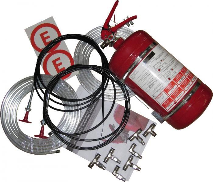 Feuerlöschanlage 4 ltr.  Mechanische Auslösung, Stahlbehälter FIA