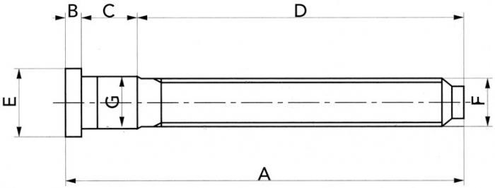 Spezial Radbolzen 12x1,5 52 lang (Spline 13,1) mit Kopf zum einschlagen Ford