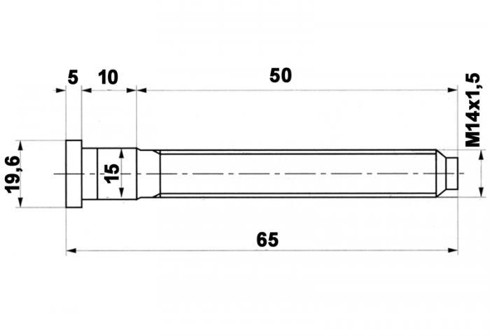 Spezial Radbolzen 14x1,5 60 lang (VW)  mit Kopf zum einschlagen