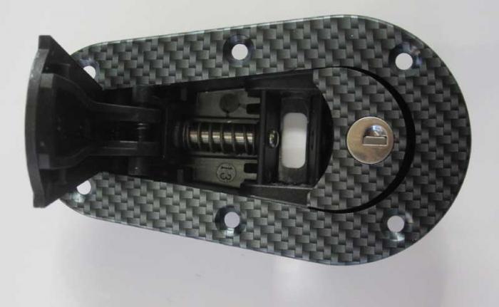 Haubenhalter Aerocatch Aufbau  carbonlook abschließbar