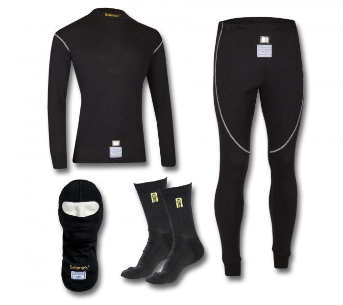 Beltenick® Unterwäsche Komplett Set schwarz  Homologation FIA 8856-2000