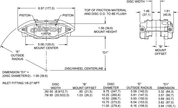 Wilwood 4-Kolben Bremssattel  Powerlite