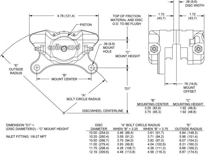 Wilwood Dynapro Bremszange 2 Kolben  Dynapro Single LW