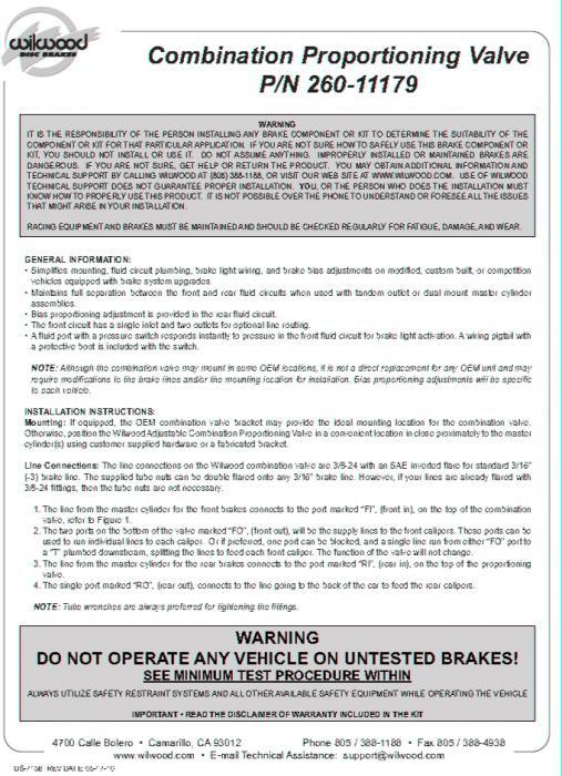 Wilwood Bremskraftregler Drehverstellung  incl. Bremslichtschalter