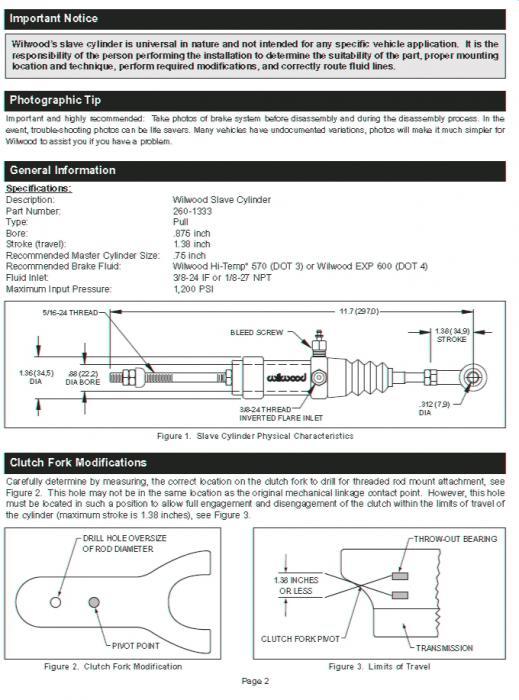 Wilwood Kupplungsnehmerzylinder  D22,2 mm wirkt auf Zug