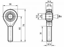 Motorsport Gelenkkopf M14x1,5 links  hochfest 25CrMo4 nicht vorgespannt