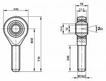Fluro Gelenkkopf GAXSW M14x2.0 rechts  hochfest 42CrMo4 nicht vorgespannt