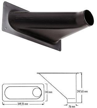 Rechteck-Lufteinlass Offset groß   Luftschlauchanschluss: 76 mm