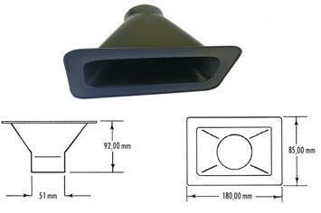 Rechteck-Lufteinlass  Luftschlauchanschluss: 51 mm