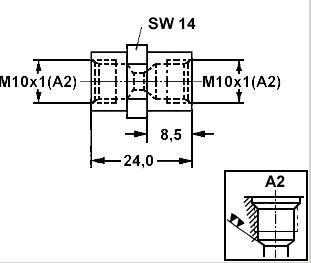 Adapter Bremsleitung 2x M10x1 Innengewinde Form FL