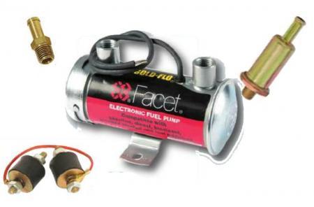 Facet Silver Top Kraftstoffpumpe elekrisch Vergaser  - Komplettset mit Filter und Anschlüssen