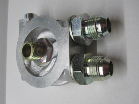 """Mocal Ölkühler Adapterplatte 3/4""""  mit Thermostat - Set mit Dash10 Stahl Anschlüssen"""