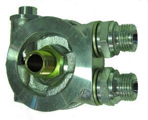 """Mocal Ölkühler-Adapterplatte 13/16 UNF mit Thermostat - Set mit 1/2"""" BSP Anschlüssen"""