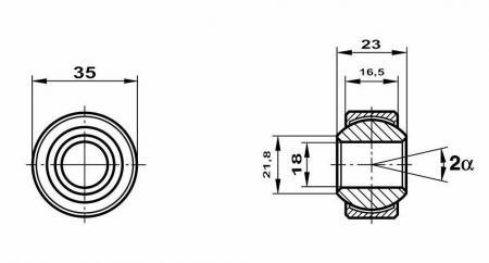 Motorsport Gelenklager 18x35x23/16,5 MS   GXSW 18.35 Lager nicht vorgespannt