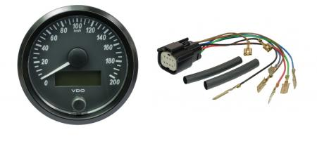 VDO Tachometer 80mm Single Viu  Meßbereich 0-200 km/h