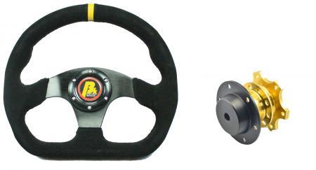 Set Lenkrad und Schnellverschluss Racing 320mm  Wildleder schwarz - abgeflacht  Beltenick®