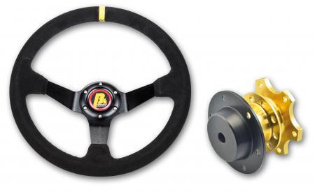 Beltenick® Lenkrad Rallye 350mm  95mm geschüsselt Wildleder - Set mit Schnellverschluss
