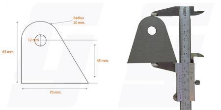 Schweisslasche Nr.9  70x65x4 (12mm Loch)   - Domex700