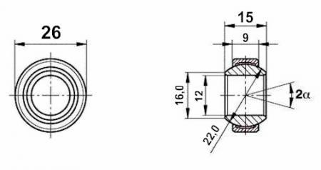Fluro Motorsport Gelenklager 12x26x9/15 - MS DIN 648 - E Reihe G, Lager vorgespannt