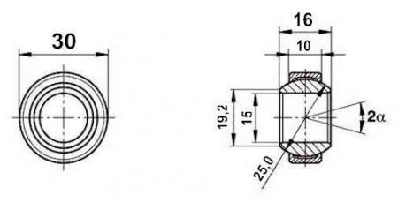 Fluro Motorsport Gelenklager 15x30x10/16 - MS DIN 648 - E Reihe G, Lager vorgespannt