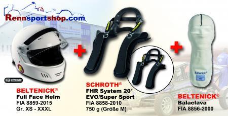 HANS Komplettangebot Full Face Helmgrösse: 60-61cm (Gr.XL), HANS Größe: Gr. M (Kragenweite -44cm)