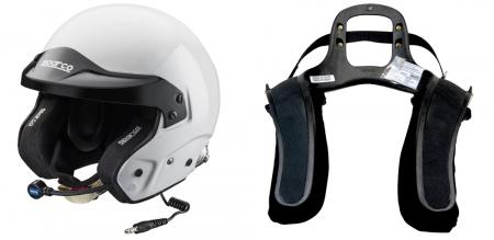 Stand 21 H.A.N.S 3 / Sparco Kombi   Helm: M/L , Hans: M