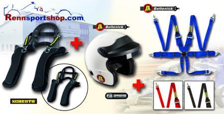 HANS Komplettangebot Helm XS, Hans L, Gurt blau