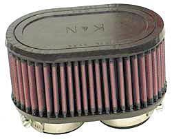 K&N Universalluftfilter, 2 x 48mm Flansch  Oval Doppelflansch, 102x159 82,5lg