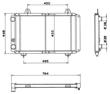Wasserkühler Fiat Ducato  Netz - 663x415x33mm (Li)