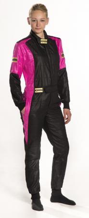 Rennoverall Beltenick® Stratos II 3-lagig FIA 8856-2018   Gr. XLW (Damen XL) schwarz-pink