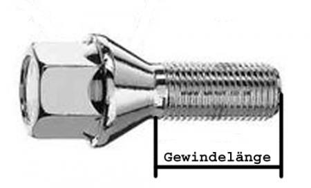 Radschraube M12x1,25 22mm Kegelbund 60° SW17