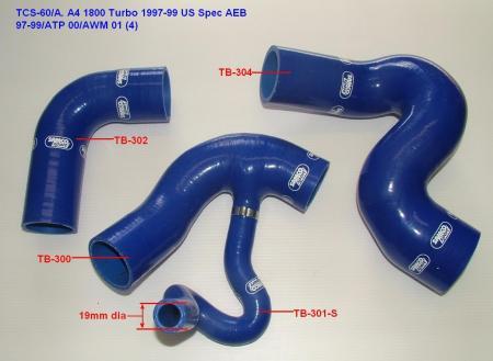 Samco Schlauchkit Audi A4 1800 Turbo US AEB   4-teiliges Turboschlauchsystem blau