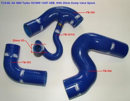Samco Audi A4 1800 Turbo AEB   4-teiliges Turboschlauchsystem blau